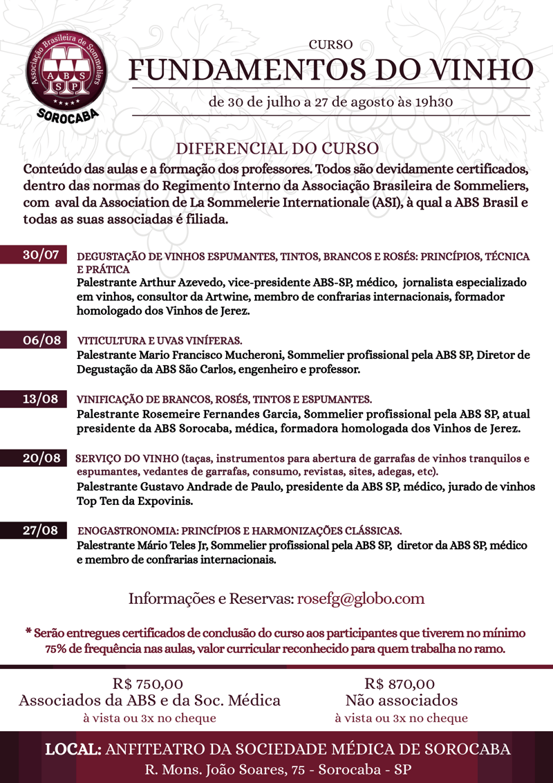 Curso Fundamentos do Vinho